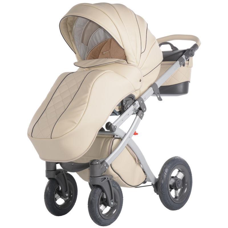 Knorr Baby Alive Pure Eco kombinētie rati - Bēša Eco āda