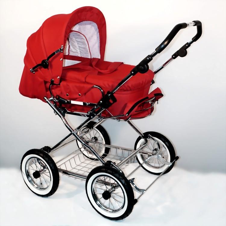 EICHHORN Designer kombinētie rati ar cieto kulbiņu Rot krāsā