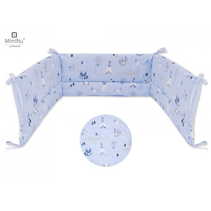 Miminu gultas apmalīte 180cm, Zila/ dzīvnieki